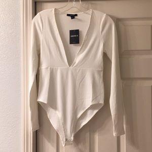 Forever 21 brand deep V body suit in white